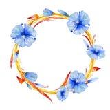 Waterverfkroon van blauw pastelkleurbloemen en gebladerte vector illustratie
