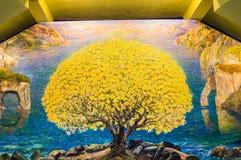 Waterverfkunst van boom op heiligdomsmuur Stock Foto