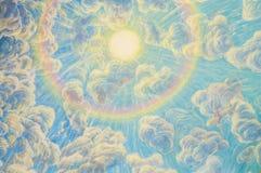 Waterverfkunst van hemel en wolk op heiligdomsmuur Royalty-vrije Stock Afbeeldingen