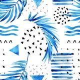 Waterverfkunstwerk met grafische elementen royalty-vrije illustratie