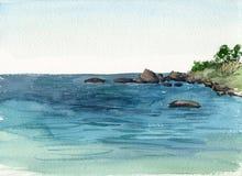 Waterverfkust van overzees Stock Fotografie