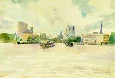 Waterverflandschap het originele schilderen kleurrijk van Chao Phraya-rivier, stad in Thailand Royalty-vrije Stock Afbeeldingen