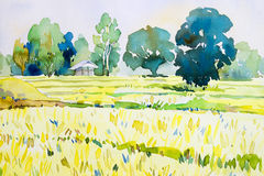 Waterverflandschap het originele schilderen kleurrijk van plattelandshuisje, padieveld Stock Foto's