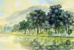 Waterverflandschap het originele schilderen kleurrijk van zon in mornin Royalty-vrije Stock Foto's