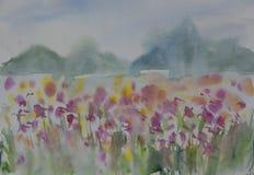 Waterverflandschap het schilderen van kleurrijke wildflower F vector illustratie