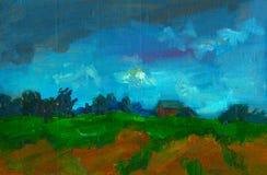 Waterverflandschap met boomans plattelandshuisje het schilderen van de de affichedruk van de olieillustratie van het de prentbrie vector illustratie