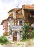 Waterverflandschap met huizen Stock Fotografie