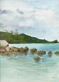 Waterverflandschap met stenen op zee kust Royalty-vrije Stock Foto