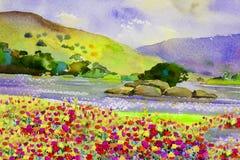 Waterverflandschap schilderen kleurrijk van bloemenrivier en berg Royalty-vrije Stock Afbeelding