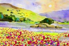 Waterverflandschap schilderen kleurrijk van bloemenrivier en berg Royalty-vrije Stock Afbeeldingen