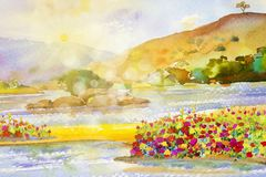 Waterverflandschap schilderen kleurrijk van de rivier van de bloemenzon Royalty-vrije Stock Afbeeldingen