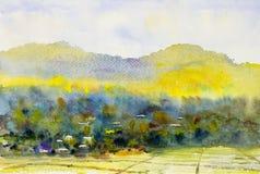 Waterverflandschap schilderen kleurrijk van dorp en padieveld Royalty-vrije Stock Afbeeldingen