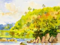 Waterverflandschap schilderen kleurrijk van rivier en berg Stock Afbeelding