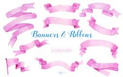 Waterverflinten en banners Royalty-vrije Stock Afbeelding