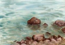 Waterverfoverzees en rotsen Stock Afbeeldingen