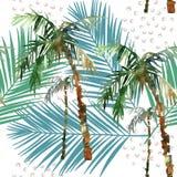 Waterverfpalm en het naadloze patroon van de bladillustratie Royalty-vrije Stock Afbeelding