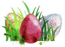 Waterverfpasen gekleurde eieren Stock Foto's