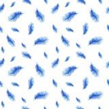 Waterverfpatroon, achtergrond, naadloos patroon, veren Stock Afbeelding