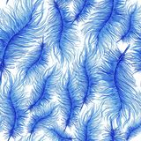Waterverfpatroon, achtergrond, naadloos patroon, veren Stock Foto