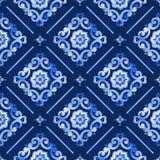 Waterverfpatroon blauwe Marokkaan Stock Afbeelding