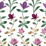 Waterverfpatroon De mooie Roze Bloemen van de Magnolia Decoratief ornament stock illustratie