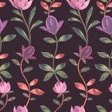 Waterverfpatroon De mooie Roze Bloemen van de Magnolia Decoratief ornament royalty-vrije illustratie