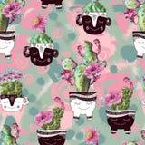 Waterverfpatroon met bloemenrozen en cactus stock foto's