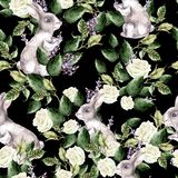 Waterverfpatroon met de banny, groene bladeren van Fanny en lavendelbloemen vector illustratie