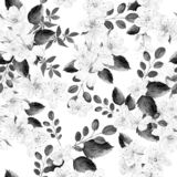 Waterverfpatroon met de lentebloemen en groene bladeren vector illustratie