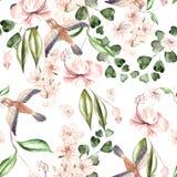 Waterverfpatroon met de lentebloemen, eucalyptusbladeren en vogels vector illustratie