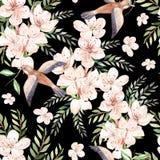 Waterverfpatroon met de lentebloemen, eucalyptusbladeren en vogels stock illustratie