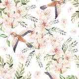 Waterverfpatroon met de lentebloemen, eucalyptusbladeren en vogels royalty-vrije illustratie