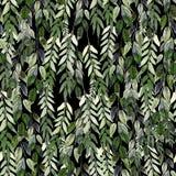 Waterverfpatroon met groene bladeren Hand het schilderen watercolor stock illustratie