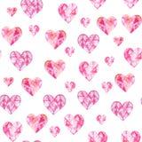 Waterverfpatroon met harten Aquarelle romantische hand - gemaakte achtergrond voor stoffendruk Geschilderde hand vector illustratie