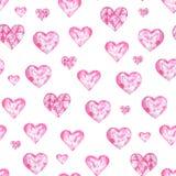 Waterverfpatroon met harten Aquarelle romantische hand - gemaakte achtergrond voor stoffendruk Geschilderde hand royalty-vrije illustratie