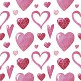 Waterverfpatroon met harten St Valentin stock illustratie