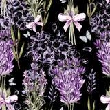 Waterverfpatroon met Lavendel en grafische hudrangea Hand het schilderen stock illustratie