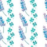 Waterverfpatroon met Lavendel Lavendel en klaverpatroon De Klaver van vier Blad klaver Royalty-vrije Stock Afbeelding
