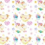 Waterverfpatroon met leuke eenhoorns, wolken, regenboog en sterren Magische achtergrond met kleine eenhoorns royalty-vrije illustratie
