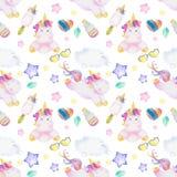 Waterverfpatroon met leuke eenhoorns, wolken, regenboog en sterren Magische achtergrond met kleine eenhoorns stock illustratie