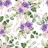 Waterverfpatroon met rozenbloemen en eucalyptusbladeren stock illustratie