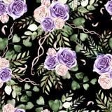 Waterverfpatroon met rozenbloemen en eucalyptusbladeren vector illustratie