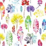 Waterverfpatroon van achtergrond van de bladeren de naadloze textuur royalty-vrije illustratie