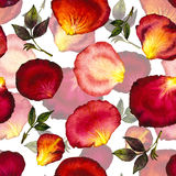 Waterverfpatroon van bloemblaadjes en bladerenrozen Stock Afbeeldingen