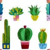 Waterverfpatroon van cactussen en succulents bloemen royalty-vrije illustratie