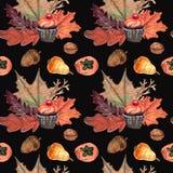 Waterverfpatroon van cupcakes Halloween en noten, vruchten royalty-vrije illustratie