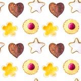 Waterverfpatroon van koekjes stock illustratie