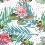 Waterverfpatroon van lotusbloembloem en kikker Stock Foto