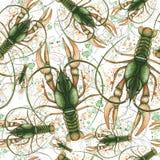 Waterverfpatroon van naadloos patroon op een marien thema en op een dierenriemteken, kanker, zeekreeft, rivierrivierkreeften, gro Stock Foto