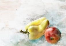 Waterverfpeper en tomaat Stock Foto's